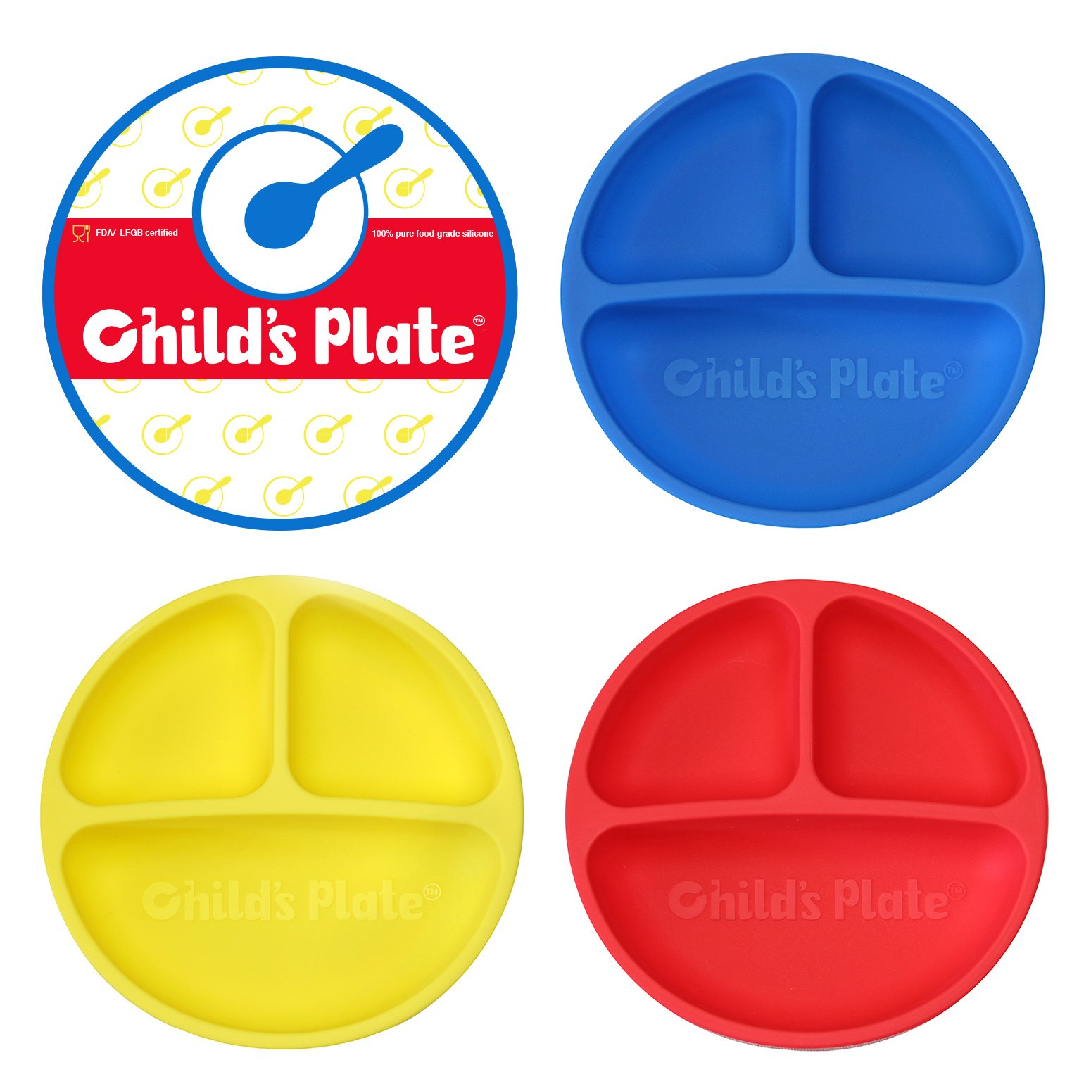 Baby / Toddler Divided Plate Microwave Safe 100% Silicone FDA Certified BPA Free 3 Pack