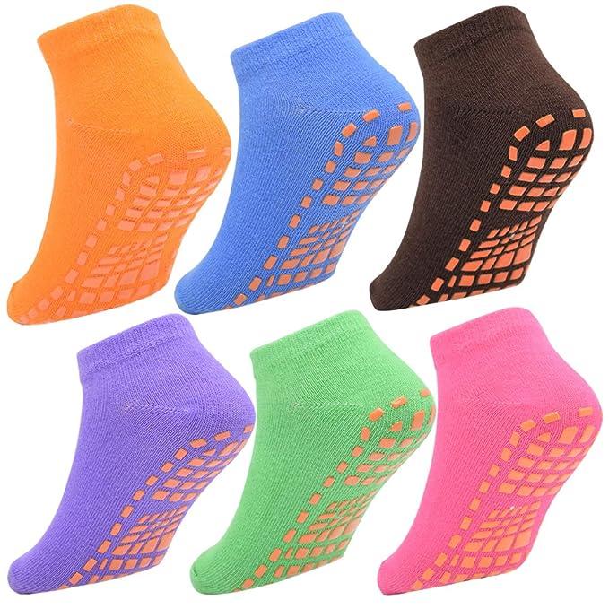 e3f8f101ddc 6 Packs Toddler Socks Non Skid Socks for Kids Anti Slip Ankle Socks With  Grips for