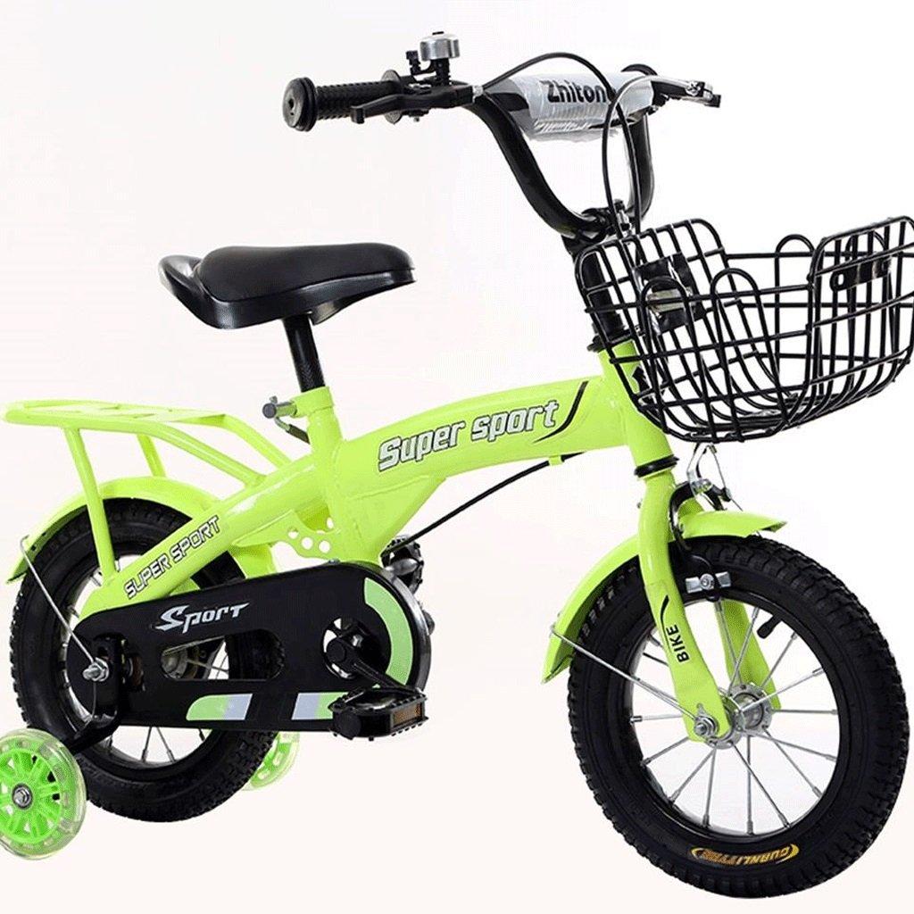 DGF 子供の三輪車2-8歳の男性と女性のベビー自転車の子供は自転車のインフレータブルホイールをプッシュ (色 : 緑, サイズ さいず : 14 inches) B07F1C19KZ 14 inches|緑 緑 14 inches
