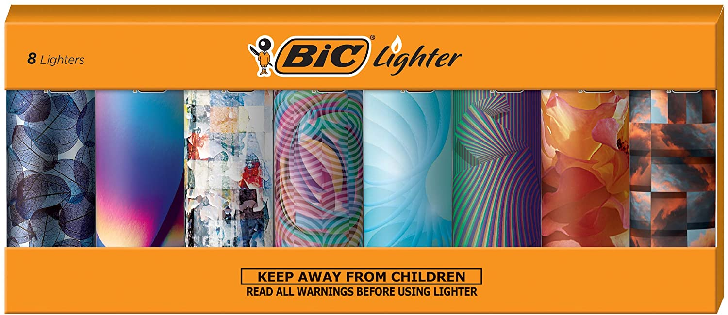 BIC Special Edition Geometric Series Lighters, Set of 8 Lighters