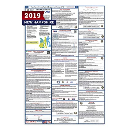 Amazon com : 2019 New Hampshire Labor Law Posters (Laminated