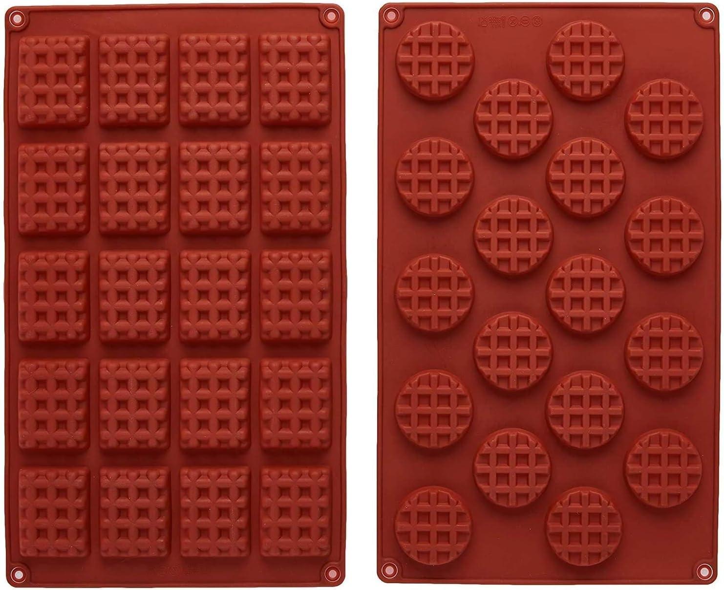 INTVN Mini rectángulo de silicona y molde de waffle redondo ...