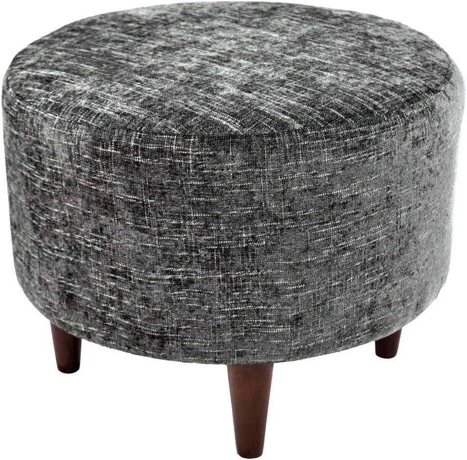 MJL Furniture Designs Sophia Collection Atlas Series Contemporary Round Ottoman, Steel/Dark Gray/Wooden Legs