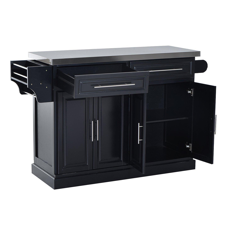 HomCom Modern Rolling Kitchen Island Storage Cart w/Stainless Steel Top - Black by HOMCOM (Image #2)
