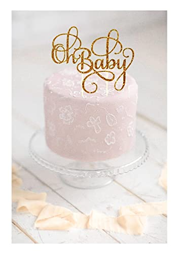 Oh Baby Cake Topper Baby Shower Cake Topper Cake Toppers Pregnancy Reveal  Glitter Oh Baby Cake