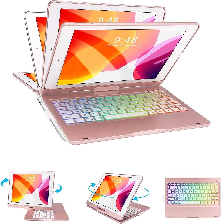 iPad Keyboard Case for iPad 8th Generation 10.2 inch, iPad 7th Gen - iPad Air 3rd gen 2019, 360 Rotatable Auto Sleep Wake Wireless Backlit Keyboard -Rose Gold