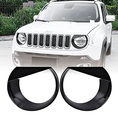 RT-TCZ Front Light Cover Angry Bird Headlight Bezels Cover ABS Trim For 2015 2016 2017 Jeep Renegade-2PCS Black
