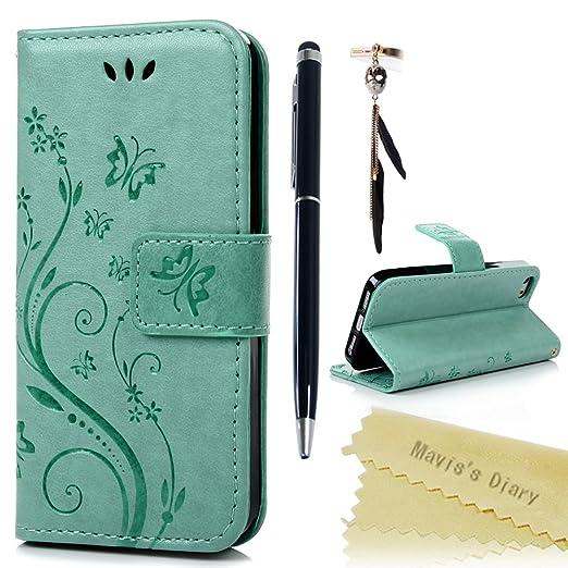 110 opinioni per Mavis's Diary iPhone SE / 5 / iPhone 5S Cover Pelle Verde chiaro, Retro Fiore