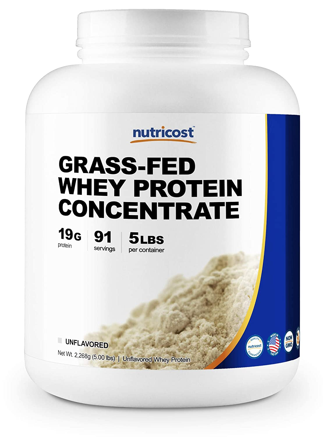 Nutricost Grass-Fed Whey Protein Concentrate Unflavored 5LBS – Undenatured, Non-GMO, Gluten Free, Natural Flavors