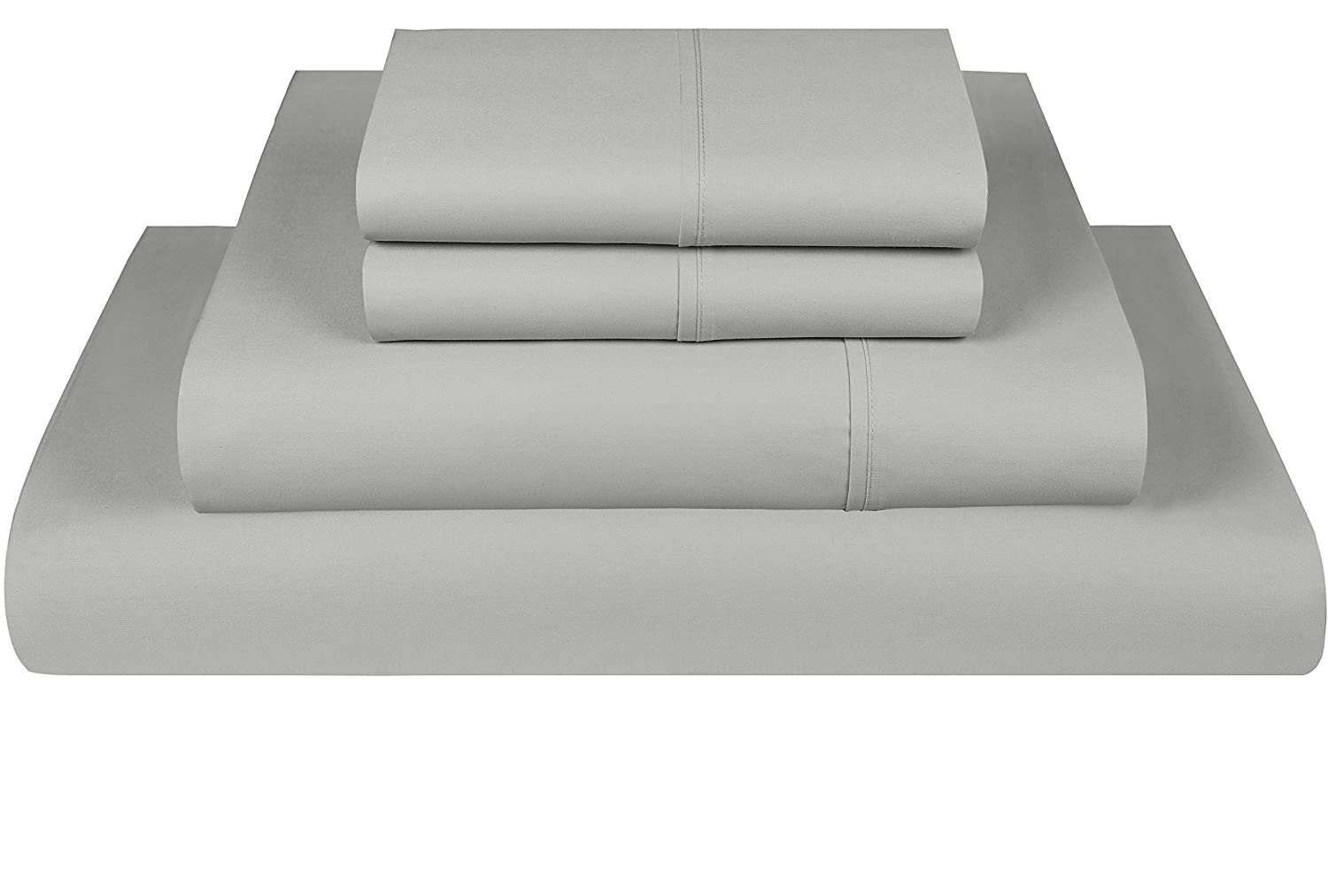 Threadmill Home Linen 800 Thread Count 100% Extra-Long Staple Cotton Solid Bed Sheet Set, California King Sheet, Luxury Bedding, California King 4 Piece Sheet Set, Smooth Sateen Weave,Silver