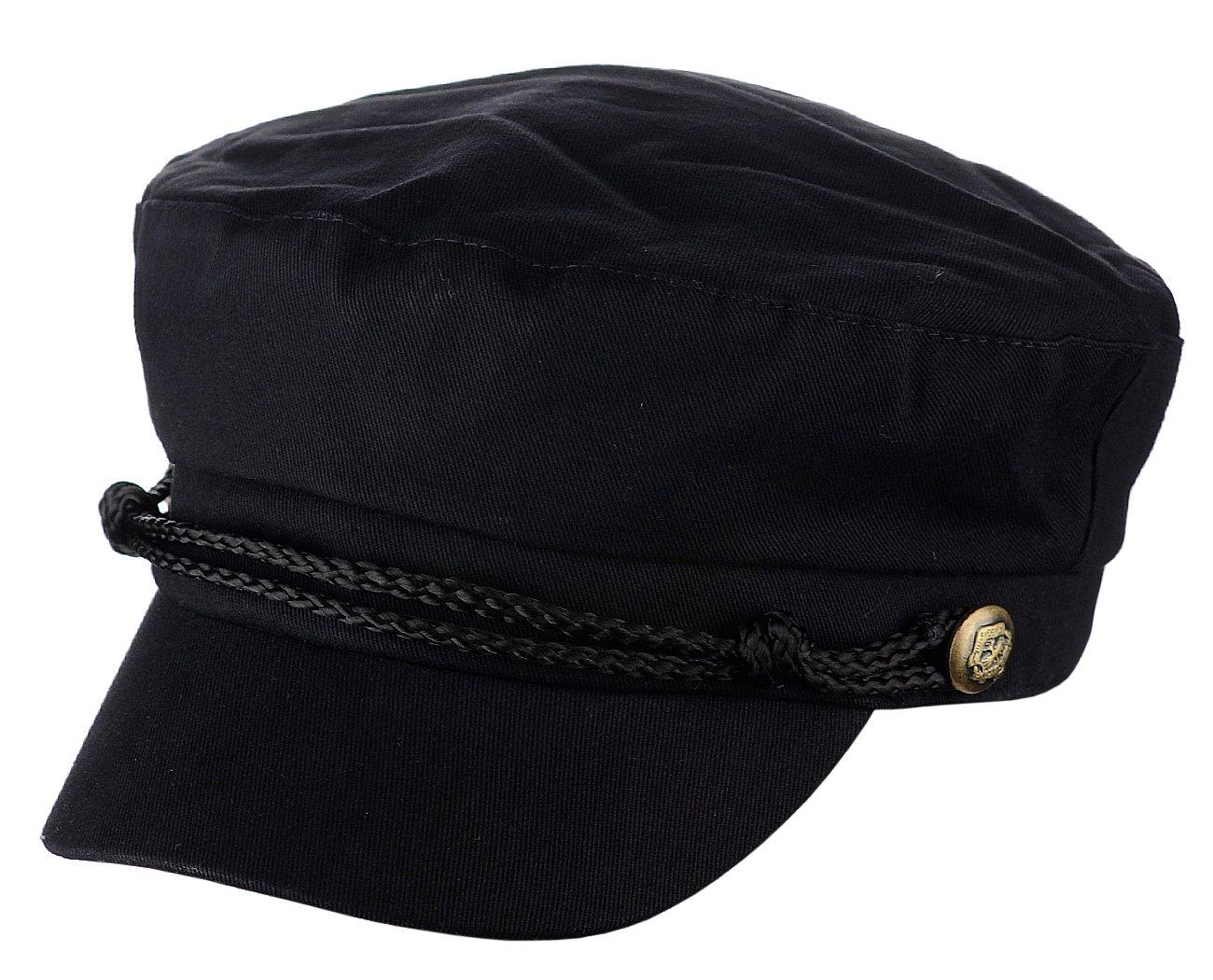 D&Y Ladies Summer Cotton Greek Fisherman Sailor Fiddler Driver Hat Flat Cap, Black