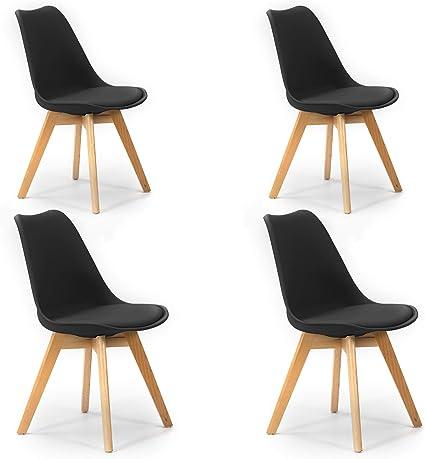 VS Venta stock Pack di 4 Sedie da Pranzo Klara Nero, Gamba in Legno e Sedile Imbottito, Stile Nordico