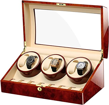 MIRANQAN Caja giratoria para Relojes automatico Watch Winder Madera de Almacenamiento 6 +7 Reloj de Pulsera-Aduana de Lujo (Color Raro), 02: Amazon.es: Hogar