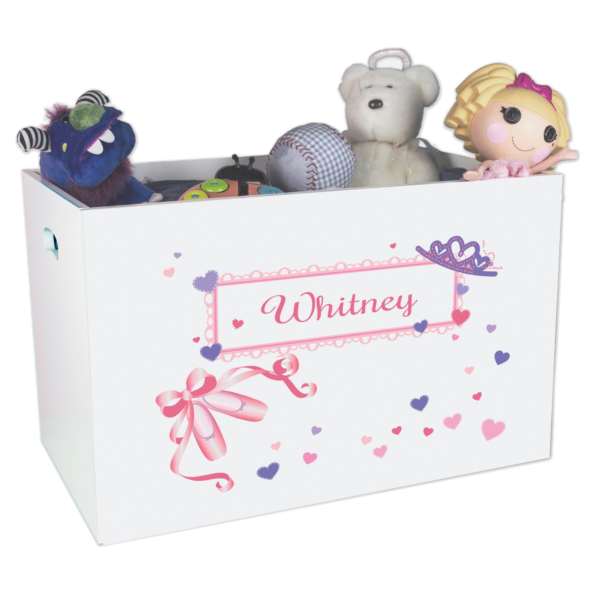 Personalized Princess Childrens Nursery White Open Toy Box