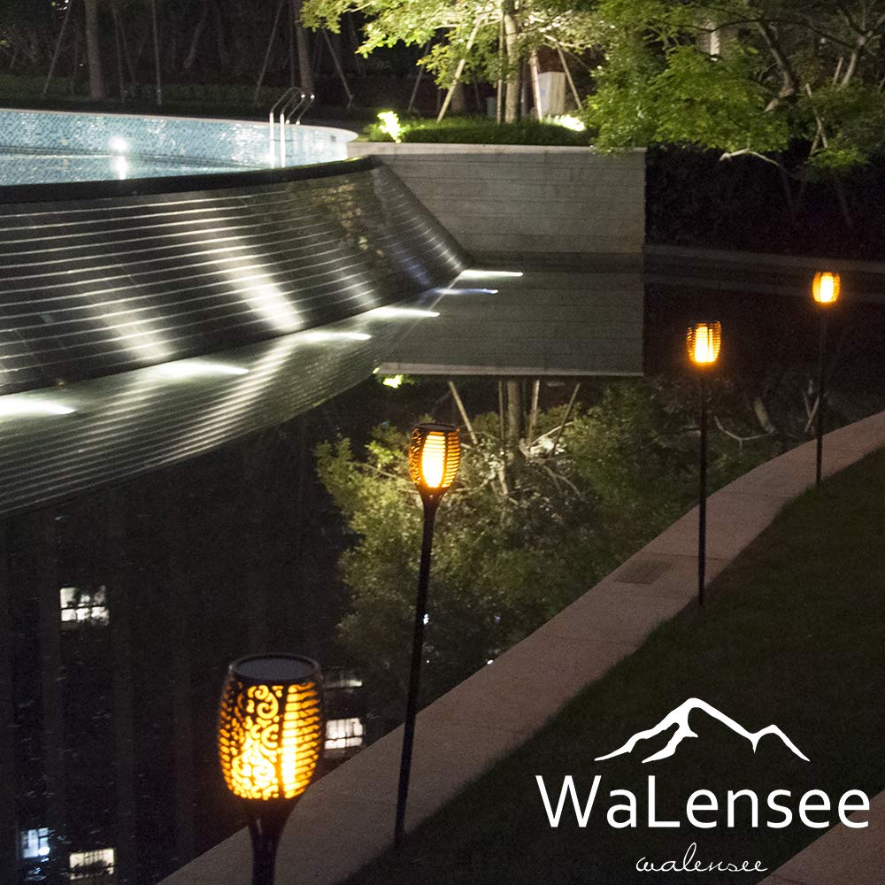 Walensee Solar Lights Outdoor Upgraded, Waterproof Flickering Flames Torch Lights Outdoor Solar Spotlights Landscape Decoration Lighting 96 LED Dusk to Dawn Auto On/Off Security Torch Light (4 Pack) by Walensee (Image #7)