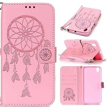 pinlu Funda para Huawei Y6 II Función de Plegado Flip Wallet Case Cover Carcasa Piel PU Billetera Ranuras Doble Relieve Atrapasueños (Dream Catcher) ...