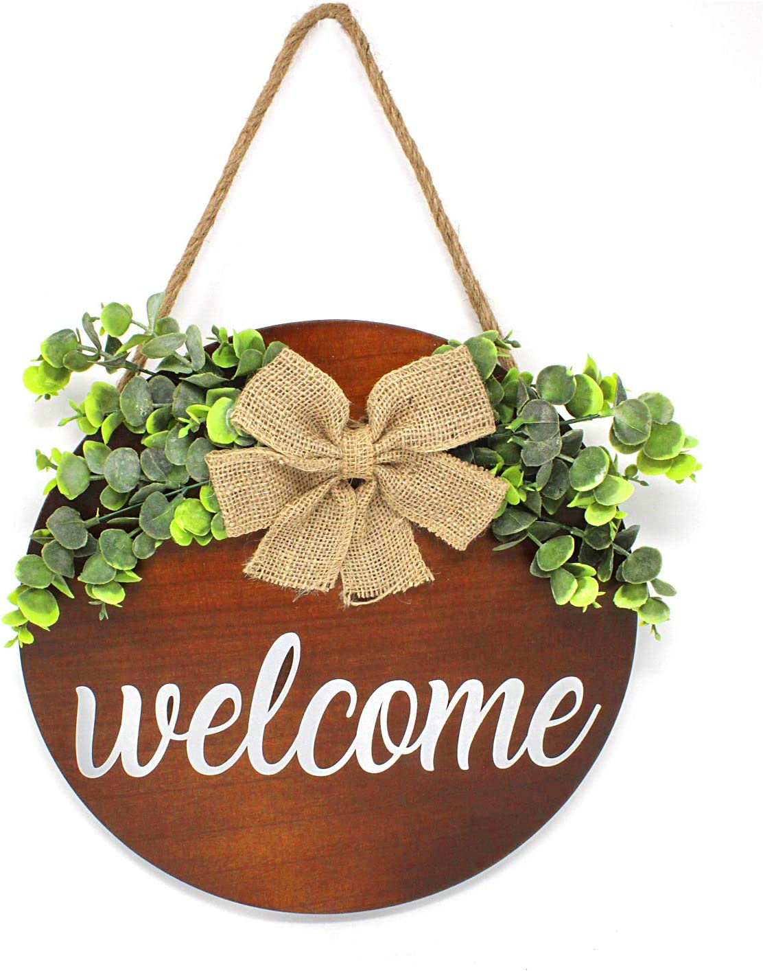 SmithFarmCo Welcome Wreaths for Front Door, Front Door Decor, Welcome Sign for Front Door , Porch Decor, Farmhouse Fall Decor, Rustic Wooden Door Hanger, Fall Decor For Porch (Brown)