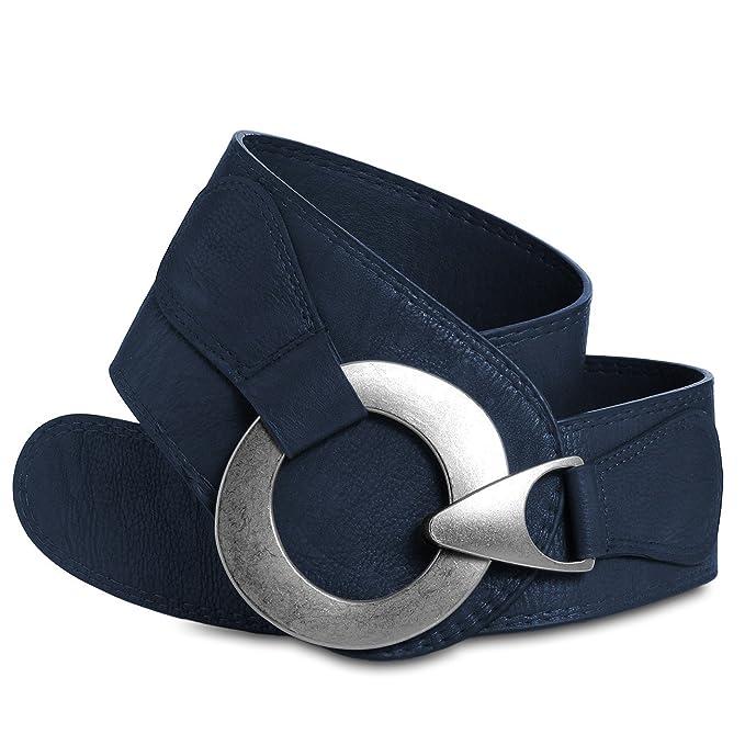 Boutique en ligne 49cce 192cb Caspar GU243 Cinturón Ancho para Mujer con Hebilla Grande de Metal