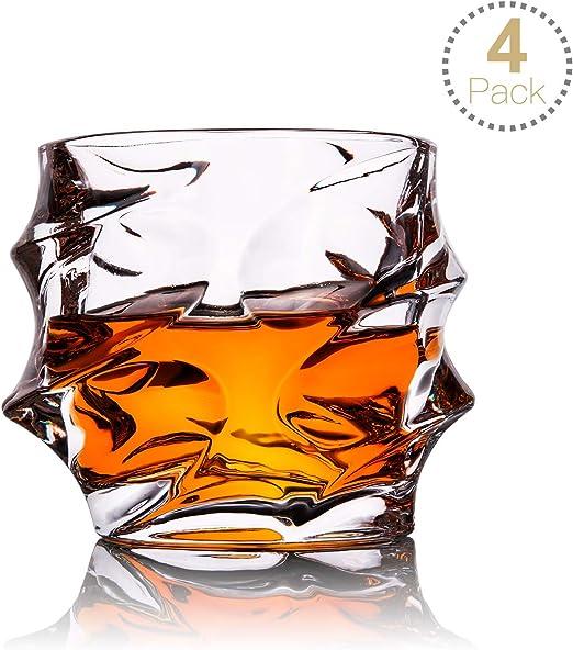 TOPLANET Set de 4 Vasos de Whisky Vaso Whisky Ultra Claridad Vidrio Antiguo sin Plomo con 4 Esteras para Tazas, Vasos de Cristal para Bar Beber Borbón, Cócteles ...