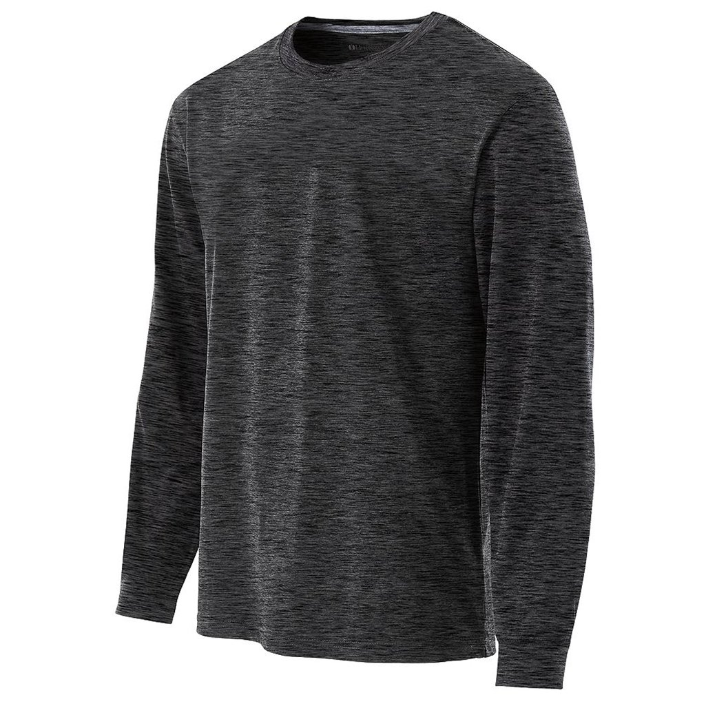 Holloway Youth Dry Electrify Long Sleeve Semi-Fitted Shirt (Small, Black Heather) by Holloway