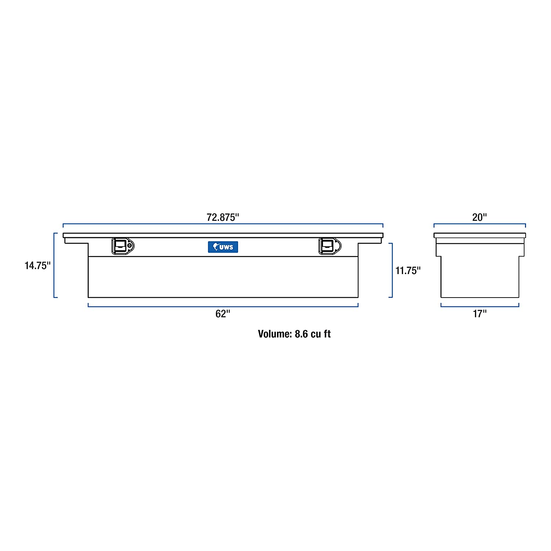 UWS EC10581 72-Inch Aluminum Black Truck Tool Box with Low Profile