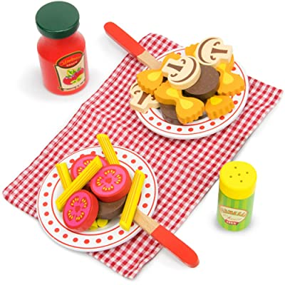 Imagination Generation Wood Eats! Primo Pasta Playset - 29-Piece Italian Food Set with Sauces, Toppings, Tablecloth and Serving Tools: Toys & Games