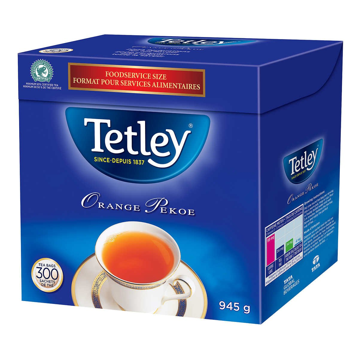 Tetley Tea, Orange Pekoe, Food Service Size 300 Count 945g Tea Bags
