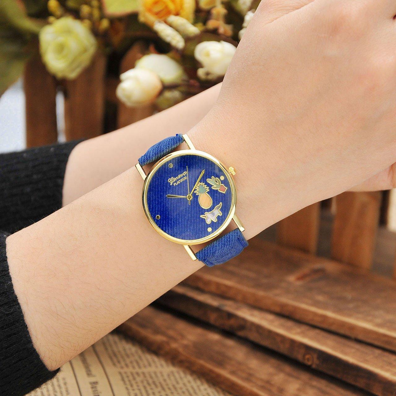 JSDDE Uhren,Fashion Cute Cartoon Einhorn Ananas Kaktus Armbanduhr Denim PU Lederband Damenuhr Kleid Quarz Uhr,Dunkelblau