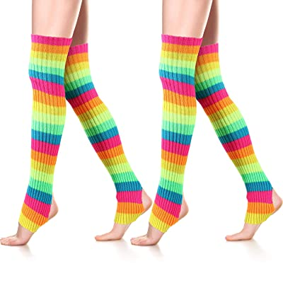 80s Women Long Leg Warmers Ribbed Knit Warmers for Dance Sports Yoga (Multi-color): Clothing
