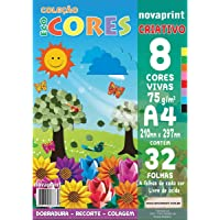 Bloco Para Educacao Artistica Criativo A4 8 Cores 75g 32 Folhas - Pacote com 1 Unidade Novaprint, Multicor