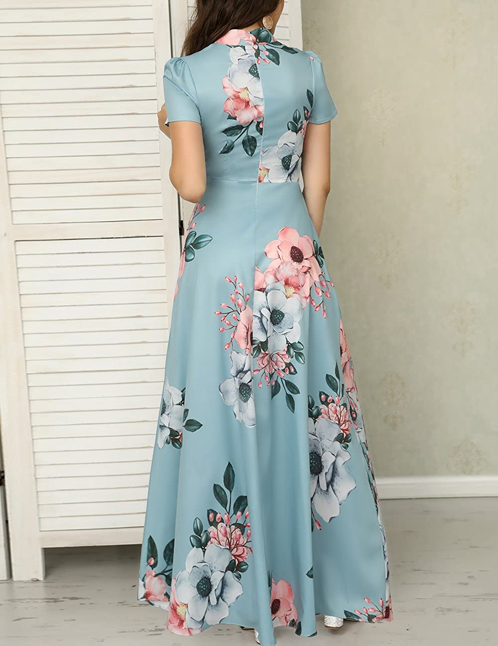 09ef0ad2245 Ivrose Womens Short Sleeves Floral Maxi Dress Lake Blue M at Amazon Women s  Clothing store