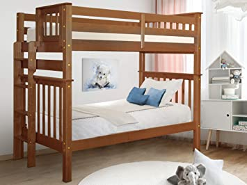 Amazon Com Bedz King Tall Bunk Beds Twin Over Twin Mission Style With End Ladder Espresso Furniture Decor