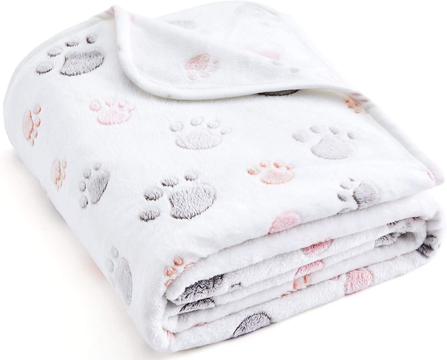 """Allisandro 350 GSM-Super Soft and Premium Fuzzy Flannel Fleece Pet Dog Blanket, The Cute Print Design Washable Fluffy Blanket for Puppy Cat Kitten Indoor or Outdoor, White, 39"""" x 31"""" : Pet Supplies"""