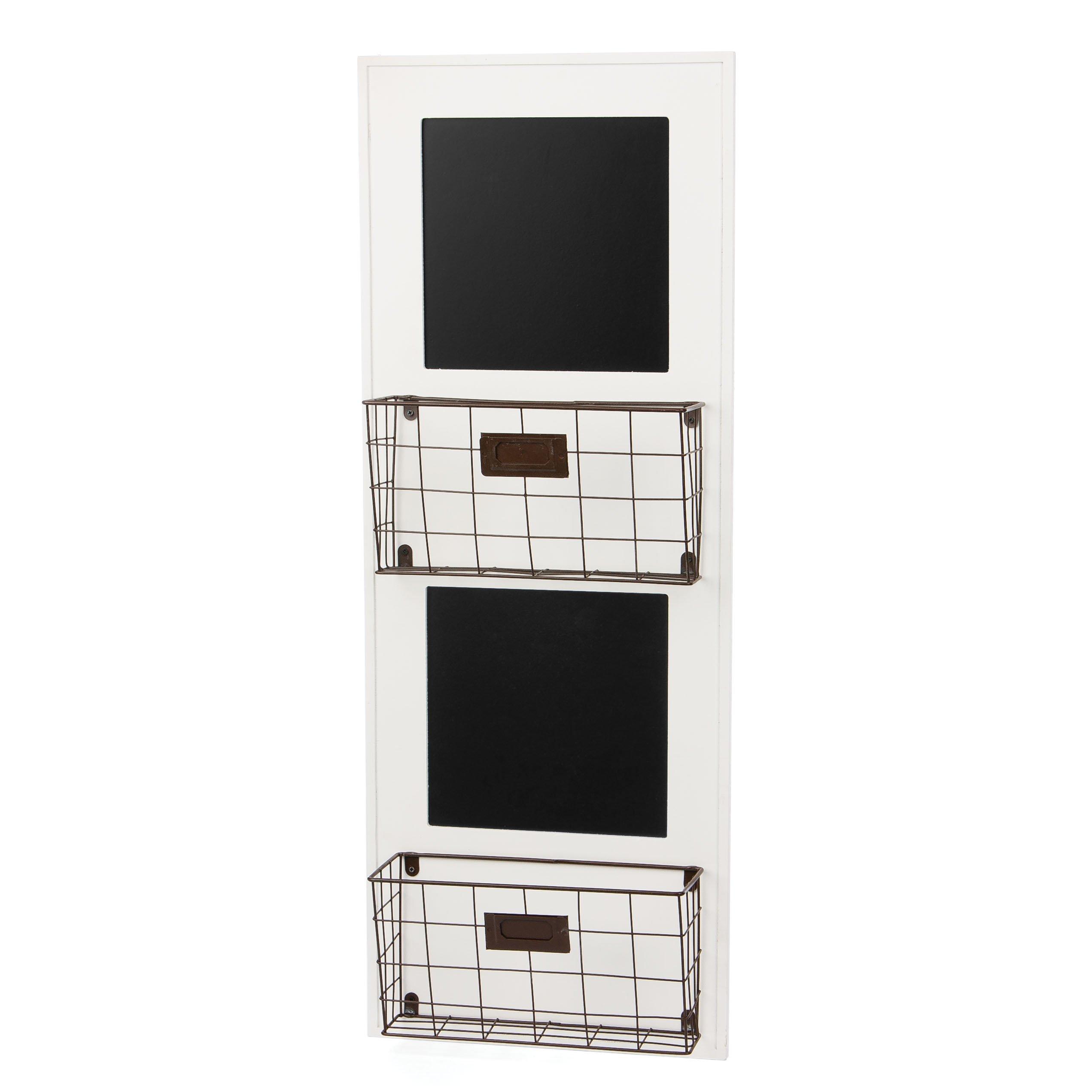 Skalny White Rectangle Wood Wall Storage Unit with Chalkboard, 11.75'' x 4'' x 31.5''