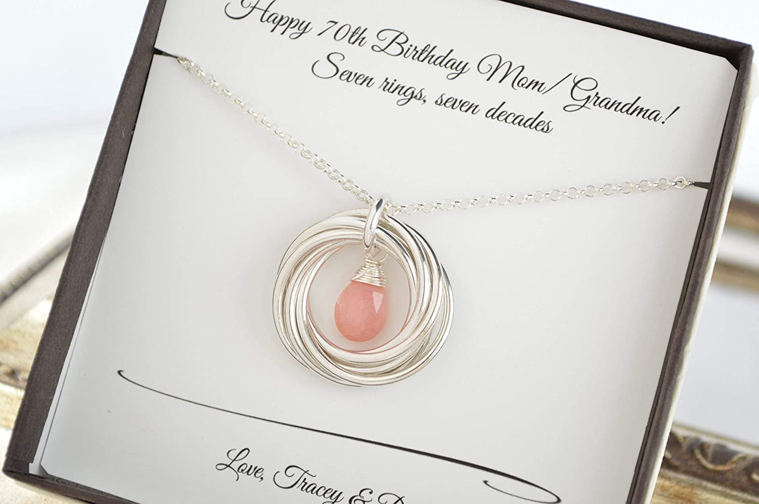 Amazon 70th Birthday Gift For Mom And Grandma October Birthstone Necklace Pink Opal 7 Rings Women