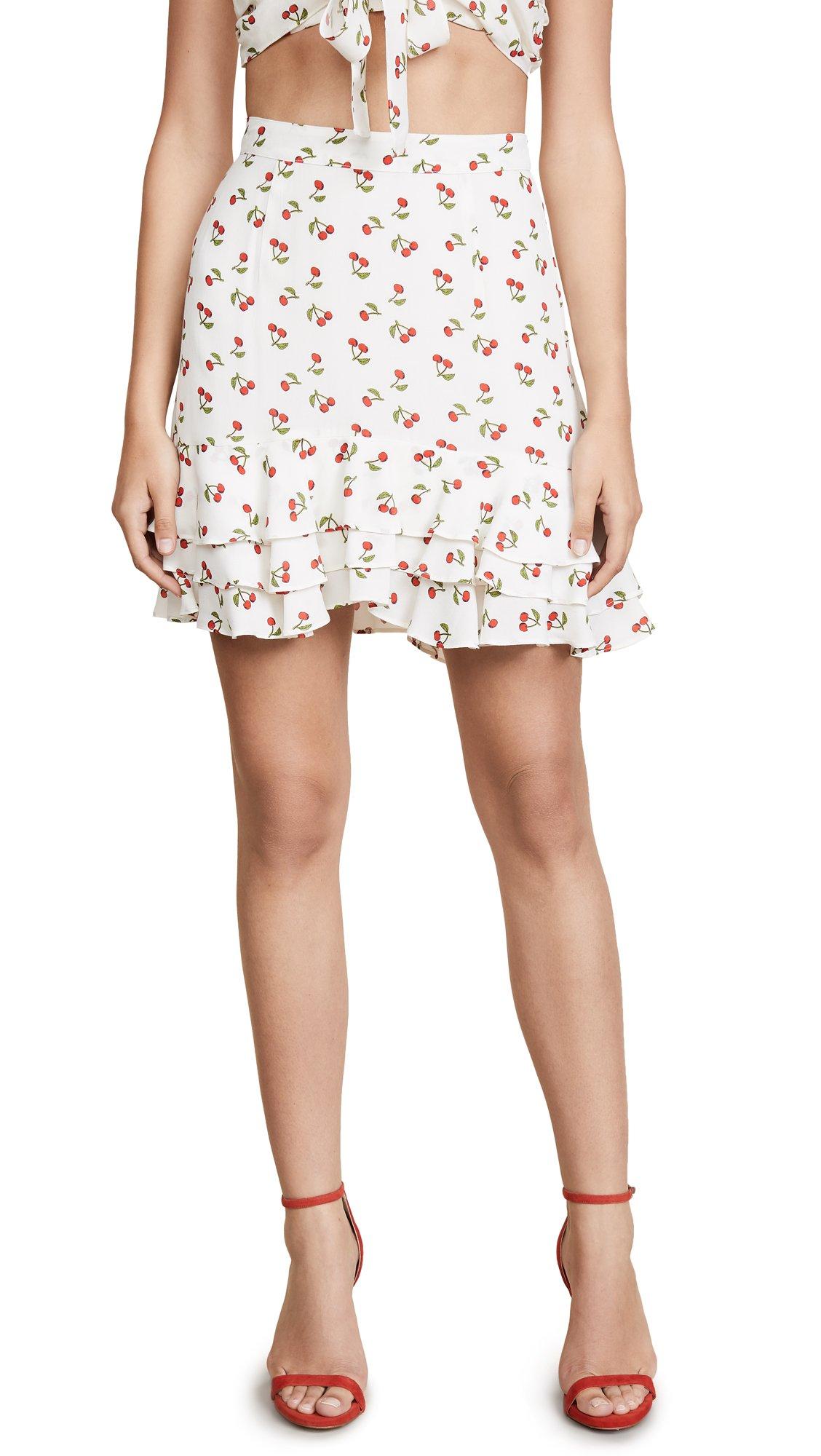 For Love & Lemons Women's Cherry Skirt, Ivory Cherry, Small
