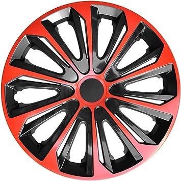 4 Tapacubos 16 Rojo Tapacubos – Tapacubos de 16 pulgadas Negro Rojo Strong 16B, Nuevo