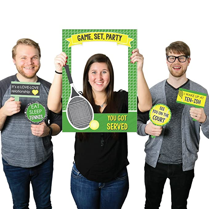 Amazon.com: Big Dot of Happiness You Got Served - Tennis - Baby Shower or Tennis Ball Birthday Party Selfie Photo Booth Picture Frame & Props - Printed on ...