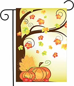 "ShineSnow Autumn Crops Thanksgiving Harvest Pumpkin Garden Yard Flag 12""x 18"" Double Sided, Apple Maple Leaf Yellow Fall Holiday Polyester Welcome House Flag Banners for Patio Lawn Outdoor Home Decor"