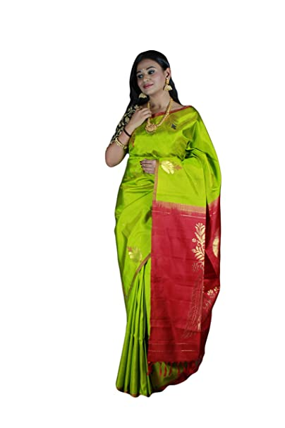 1819eb85c85620 Beautiful Green Color Silk Saree With Running Blouse: Amazon.in: Clothing &  Accessories