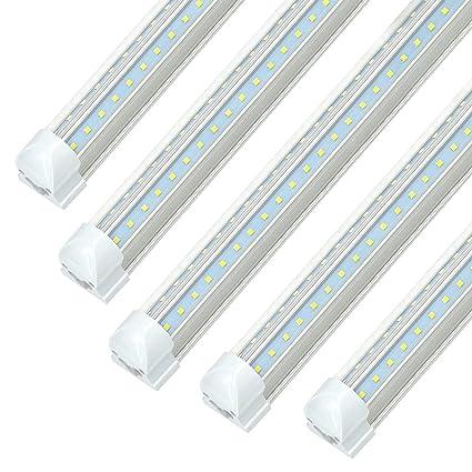 Led Shop Lights >> Jesled 6ft V Shape Led Cooler Lights 6 Foot Led Shop Light Fixtures 42w 4620lm 6000k Cool White Dual Row T8 Integrated Led Tube Light Bulbs For