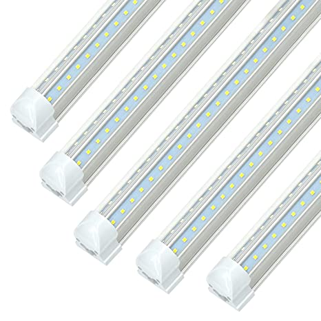 reputable site 6e1ca 7bb32 8FT LED Tube Light Fixtures - 72W 7200LM (150W Equivalent), 6000K Cool  White, JESLED T8 Integrated LED Cooler Lights Strip, Dual Row V Shape Bulbs  for ...