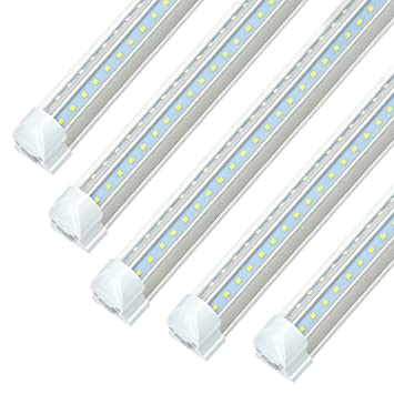 8ft Led Shop Light Fixtures Jesled 8 Foot Led Cooler Light Fixture 72w 7200lm 6000k Cool White Dual Row V Shape T8 Integrated Led Lights Bulb For