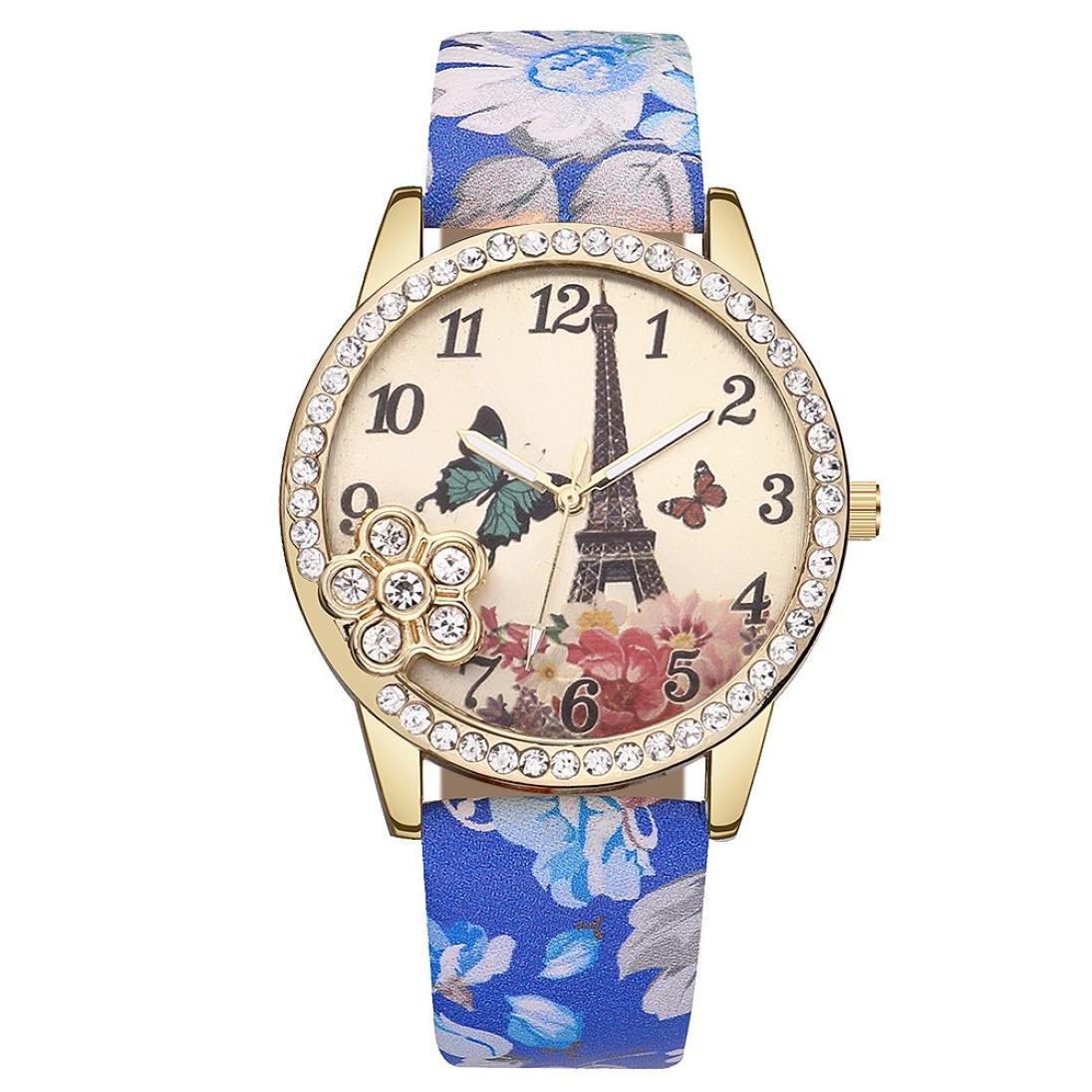 Wrist Watches for Women Teen Girls, Iuhan Fashion Eiffel Tower Leather Quartz Watch Women Casual Crystal Wristwatch Charm Layer Quartz Bracelet Watch (E)
