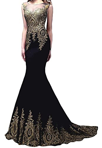 Butmoon Women's Appliques Sleeveless Long Mermaid Evening Dress