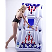 dreambuilderToy Inflatable Pool Party Barge Floating Beer Pong Float with Cooler, White, 6-Feet, - Floating Pool Party Game Raft and Lounge(Beer Pong)