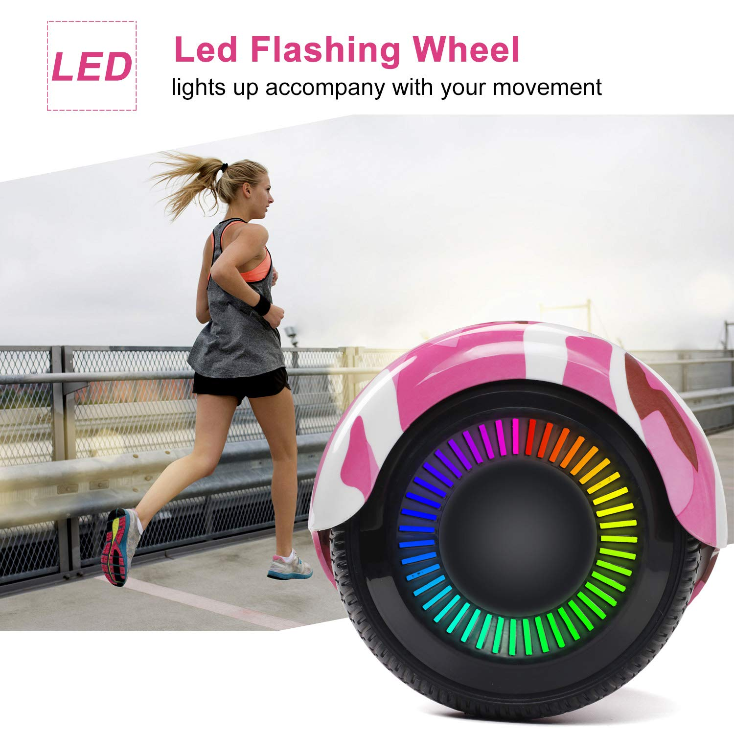 SISIGAD Hoverboard Self Balancing Scooter 6.5'' Two-Wheel Self Balancing Hoverboard with LED Lights Electric Scooter for Adult Kids Gift UL 2272 Certified Fun Edition - Pink Camou by SISIGAD (Image #4)