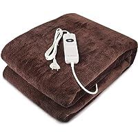 Navaris manta eléctrica XXL - Colcha 180x130CM con termostato - Manta térmica con regulador 3 niveles - Lavable en lavadora de color marrón