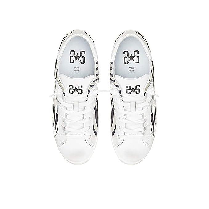 2Star Scarpa Sneaker Donna SNEAKER LOW ZEBRATO BIANCO NERO 2SD2415