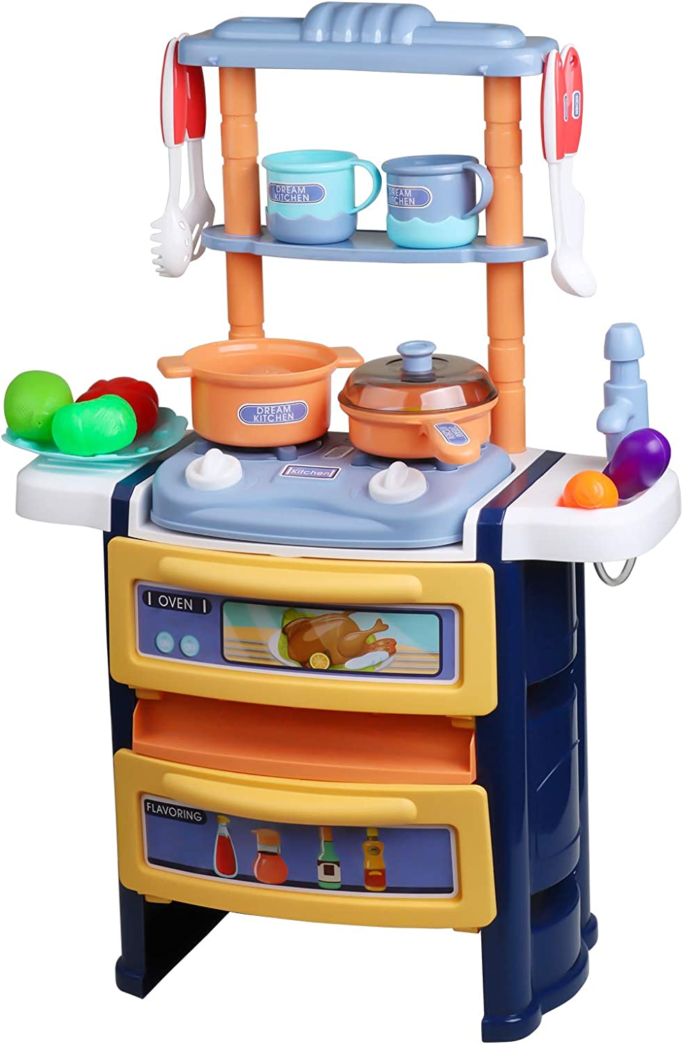 Kitchen Pretend Play Toys Kids Playset Double Layer Cutting Play Kitchen Set with Realistic Sounds and Light, Pretend Cookware ,Toy Cutlery & Food Play Kitchen Toy for Toddlers, Girls, Boys